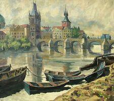 Willy Menz 1890-1969 Bremen/pinturas/casco histórico de praga con Karl puente 1944