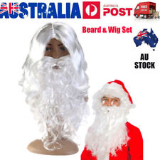 White Santa Wig & Beard Father Christmas Xmas Fancy Dress Costume Wizard Hair AU