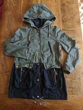 Warehouse 12 Khaki Black Cotton Drawstring Waist Faux Layer Hooded Parka Jacket