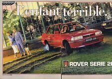PUBLICITE ADVERTISING 045 1985 ROVER Série 200 l'enfant terrible (2 pages)