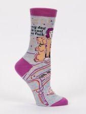 Women's Crew Socks My Dog Is Cool as F Blue Q Cotton One Size Christmas