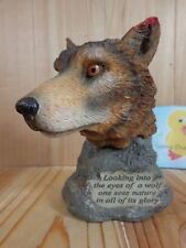 "WOLF FIGURINE 6"" Looking Into the Eyes Brown Gray Head HERCO Professional Resin"