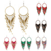 Fashion Women Retro Boho Ethnic Wind Long Style Rice Beads Fringed Earrings