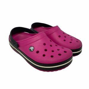 Crocs Classic Clog Unisex Size Women's 7 / Men's 5 Hot Pink Black White