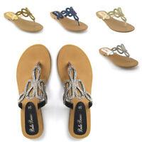 Womens Flat Sandals Toe Post Slip On Flip Flops Ladies Holiday Diamante Shoes