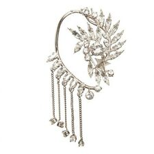 Silver Plated Crystal Ear Cuff Earring Dangle Chain Floral Star Punk Celebs New