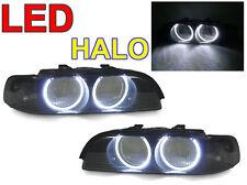 DEPO UHP LED Angel Halo Smoke Headlight Cover Frame For 97-00 BMW E39 5 Series