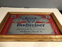 Vintage Budweiser King Of Beers Sign Mirror 18 x 12.5 Wood Frame