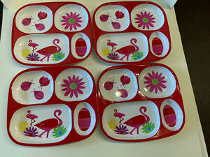 Cynthia Rowley Toddler Plate 4 section kids plate melamine FLAMINGOS design