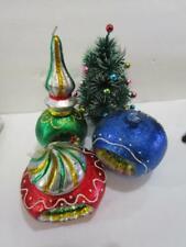 3 Vintage Leadless Wick Christmas Foil Indent Ornament Candle Lot