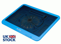 HQ USB LAPTOP NOTEBOOK COOLER COOLING PAD BLUE 1 BIG FAN 14cm BLOW
