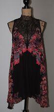 NWT Free People Marsha Printed Slip Dress, Black Combo, Size Small