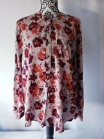 Lucky Brand Womens Button Down Blouse Top Red Floral Prints Size Large