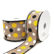 Natural Linen Wired Ribbon, Yellow/Black/White Dots, 10 Yards