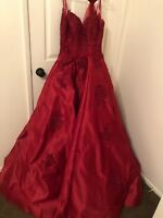 Burgundy lace ball gowns