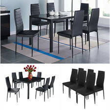 High Gloss Glass Dining Table Set and 6 Leather Chairs Seats Contemporary Black