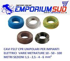 CAVO IMPIANTI ELETTRICI UNIPOLARE FS17 1,5 2,5 4 6 mm² FILO CAVI 10 50 100 METRI