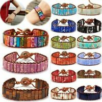 Handmade 7 Chakra Leather Bracelet Natural Stone Tube Beaded Wrap Bangle Women