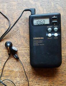 Sangean DT-200V FM-Stereo/AM/TV Digital Tuning Pocket Radio w/ Ear Buds TESTED