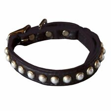 South Sea Pearl Leather Safety Cat Collar - Mysterious (Black)
