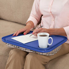 Snack Tray Desk Lap Table w Cup Holder Portable Stable Cushioned Beanbag Support