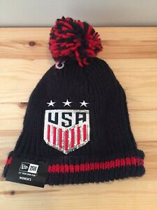 US Soccer Women National Team New Era Sequin Frost Beanie Knit Hat with Pom