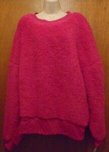 Plus Size Women's Sherpa Sleepwear Top ONLY Size 3X (22W-24W) Fuchsia NWT