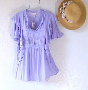 New~$68~Lavender Ruffle Crochet Lace Blouse Shirt Spring Boho Top~Size XL