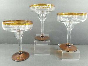 3 DiSaronno Amber Martini Cocktail Glasses Hand Blown Yellow Clear Barware Set