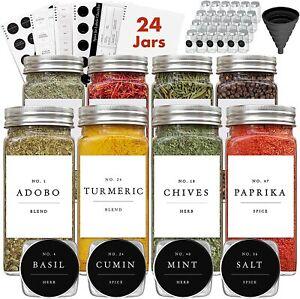 24 Small 4oz Glass Spice Jars W Lids & Labels Minimalist Spice Organizer Kit NEW