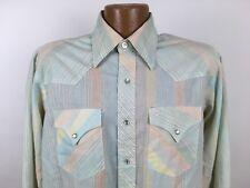 Vintage Ranger Pastel Striped Western Shirt MEN'S XL Pearl Snaps Long Sleeve