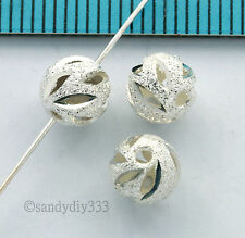 6x BRIGHT STERLING SILVER LASER CUT STARDUST ROUND SPACER BEAD 6.4mm 6mm #2664