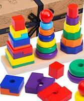 Jaques of London Wooden Shape Stacker | Development Toys | Stacking Toys |