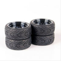 4X Rubber Tires & Wheel Rims For HSP HPI RC 1/10 Scale On-Road Racing Car 10362