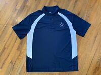 NFL DALLAS COWBOYS-Navy/White Pique Perform.Poly, Mens SS Logo Polo Shirt XL