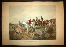 Lithographie estampe CHASSE AU RENARD FOX HUNTING CHEVAUX MEUTE CHIENS COURANTS
