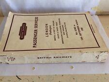 BRITISH RAILWAYS PADDINGTON NORTH SOUTH WEST & MIDLANDS TIMETABLE JUNE 1958