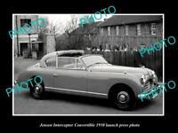 OLD LARGE HISTORIC PHOTO OF 1950 JENSEN INTERCEPTOR C/V LAUNCH PRESS PHOTO