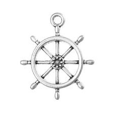 50 bulk package Silver Metal SHIP WHEEL Charm Pendants chs0477b
