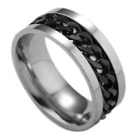 Anillo de 8 mm, Girando, Spinning Anti-Estrés de Acero inoxidable Plata y Negro
