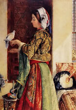 Oil painting John Frederick Lewis - girl with two caged doves free shipping cost