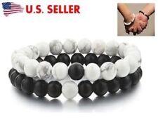 NEW! Long Distance Relationship Bracelets For Couple Black Matte Agate & White
