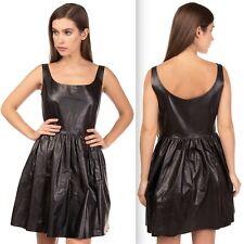 New sz 38 / US 0-2 leather MIU MIU by Prada dress black calfskin w/ pockets