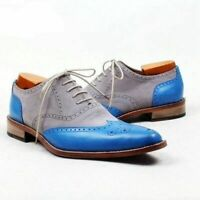 New Handmade Men's Gray Suede and Blue Leather Wing Tip Brogues Oxford Shoes