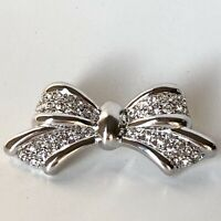 Vintage Rhinestone Bow Pin Brooch Silver Tone Metal Unsigned