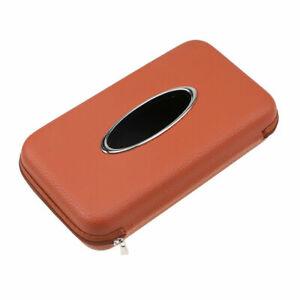PU Leather Car Sun Visor Tissue Holder Box Napkin Office Zipper Paper Case Clip