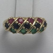 14K YELLOW GOLD RUBY EMERALD SAPPHIRE AND DIAMOND RING  SIZE 7