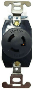 Pass & Seymour Legrand 4760 Turnlok Receptacle 15A 277VAC Black - New Case of 10
