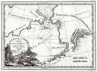 MAP ANTIQUE 1798 CASSINI BERING STRAIT COOK ROUTE REPLICA POSTER PRINT PAM1663