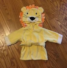 """BABY ASPEN INFANT BABY BOY """"BIG TOP BATH TIME LION HOODED ROBE"""" SIZE 0-9 MONTHS"""